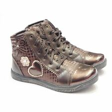 Sale Girls Garvalin High Tops | Bronze Patent Leather | Slim Fitting Girls Shoes