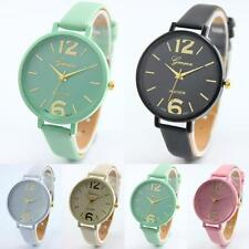 Geneva Casual Women's Faux Leather Band Stainless Steel Quartz Wrist Watch New