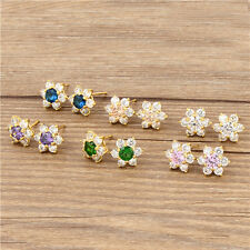 Shiny 24k Yellow Gold Filled Swarovski Crystal Flower Stud Earring,Free Shipping