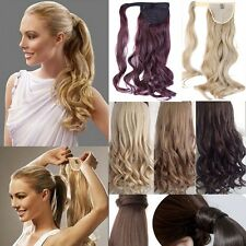 real thick Clip In Hair Extension Pony Tail Wrap Around Ponytail straight G15