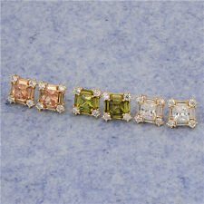 Charming 18K Yellow Gold Filled Colorful CZ womens square big stud earrings