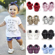 Newborn Toddler Infant Tassel Soft Sole Leather Shoes Baby Girls Moccasin 0-18M