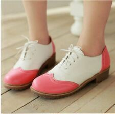 Womens Flat Heel Oxfords Casual Shoes Lace Up Stitching Colors Wing Tip Plus Sz