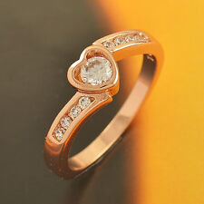 Womens Rose Gold Filled Heart Engagement Wedding Ring  Size 6 7 8 Clear CZ