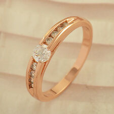 Korean Fashion Jewelry Rose Gold Filled clear CZ Wedding promise Ring,Size 7 8 9