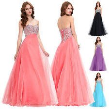 Shiny Strapless Beaded Prom Gown Cocktail Evening Wedding Long Dress 4 Colors
