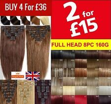 Fast Post Real Thick Clip in Hair Extensions Full Head feel as Human Hair 8 Pcs