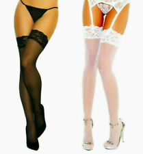 Elegant Moments 1721 Sheer Lace Top Seamless Stockings Plus Size XL Queen White