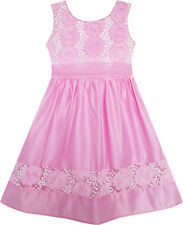 Girls Dress Flower Detailing Sequin Party Tulle Bow Tie Pink Size 2-6