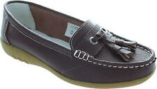 Coolers Es-kt1302 Women's Brown Slip On Round Toe Leather Tassle Loafers New