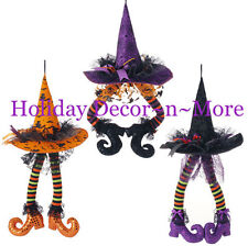 "23"" HANGING WITCH HAT W/POSEABLE LEGS RAZ H3416027 HALLOWEEN DECOR WREATH GIFT"