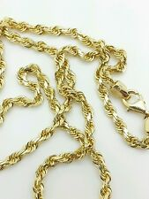"""14k Solid Yellow Gold Diamond Cut Twist Rope Necklace Pendant Chain 3.0mm 16-30"""""""