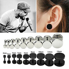2PCS Mens Barbell Punk Gothic Stainless Steel Ear Studs Earrings Unisex CE