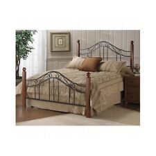 Queen Bed Frame Twin Full Size Headboard Rails Footboard Cherry Wood Black Metal