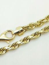 14k Solid Yellow Gold Diamond Cut Twist Rope Necklace Pendant Chain 4.0mm 20-30""