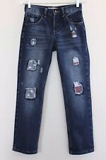 AGILE JEANS Boys Straight Leg Stars & Stripes Distressed Patched Jeans Size 14