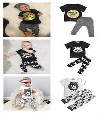 2x Newborn Baby Boys Infant T-shirt Tops+Pants Trousers Outfits Clothes Set 0-3Y