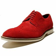 Hugo Boss CORTIOS Bright Red Wingtip Derby Mens Oxford Dress Shoes Suede Casual