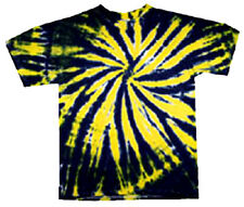 Hand-dyed Tie Dye T-shirt BLACK & GOLD DOUBLE DIP Size YM YL