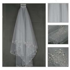 2T White/Ivory Elbow Beaded Edge Pearl Sequins Wedding Bridal Veil #A With Comb