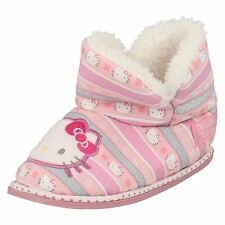 Girls Hello Kitty Pink Stripe Faux Fur Lined Boot Slippers
