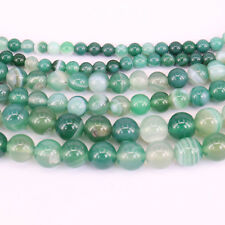 Lots 1Bunch Charm Green Stripes Agate Round Loose Bead Pendant Necklace Jewelry