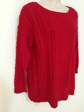 $119 NWT Lauren Ralph Lauren Womens Plus Sizes 1X/2X Red Cable Knit Sweater Top