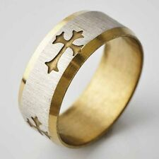 Mens womens stainless steel Yellow gold filled wedding cross ring size 8 9 10 11