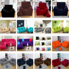 Solid Pure Colour Poly / Plush Stretch Couch Sofa Cover Protector 1 2 3 4 Seater