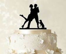 Couple Cake Topper Bride And Groom Wedding Cake Topper Dog Cake Topper