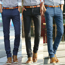 Spring/Fall Mens Trousers Casual Elasticity Pants Slim Fit Cotton Linen New E29