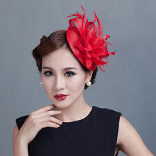 Charming Lady Party Races Feather Sinamay Decorations Clip Wedding Fascinator x1