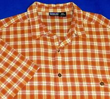 XL PATAGONIA RUST ORANGE PLAID CREPE ORGANIC COTTON SHORT SLEEVE MENS SHIRT