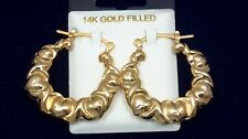 X and & Heart Hugs and & Kisses Puffy Hoop XO Earrings 14k Yellow Gold Filled