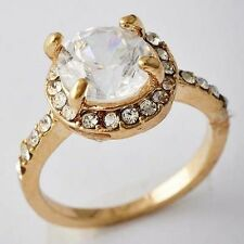 Sparkling Womens Yellow GF Clear CZ Band Promise Ring Size 5 6 7 8 9