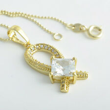 Special Woman 9K Real Gold Filled 3 Colour Main CZ Pendand Necklace Chain