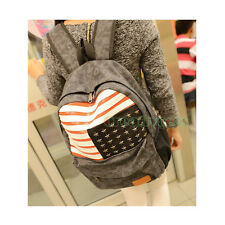 Unisex Canvas Rivets School Book Satchel Laptop Knapsack Rucksack Backpack Bag