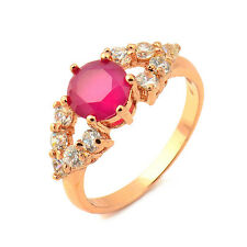 Fashion 18K Yellow Gold Plated Garnet Round CZ Promise Love Band Ring Woman