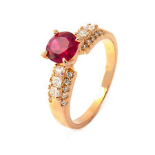 Fashion 24K Yellow Gold Plated Garnet Round CZ Promise Love Band Ring For Woman