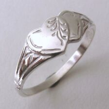 GENUINE SOLID 925 STERLING SILVER DOUBLE HEART SIGNET RING Sizes J/5 to Q/8.5