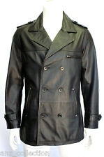 Prague Mens Gents Black Classic Reefer Pea Coat Style Real Sheep Leather Jacket