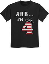 Arr I'm 4 Pirate Birthday Party Four Years Old Gift Youth Kids T-Shirt Funny