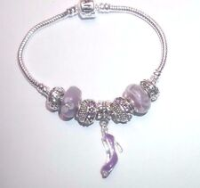 European Style Sterling Silver Purple Murano Beads Barrel Bracelet w/High Heel