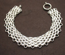 Diamond Cut Wide Panther Link Bracelet Real Solid 14K White Gold QVC 19.20 grams