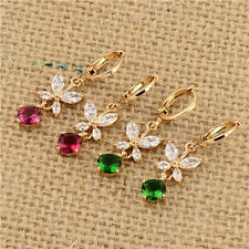 Stunning 18K Yellow Gold Filled crystal Crystal Womens Flower Dangle Earrings