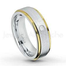 0.07ctw Diamond Solitaire Band, Brushed 2-Tone Cobalt Chrome Wedding Band CT424