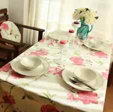 Vintage Pink Red Flower Dinning Coffee Table 100% Cotton Cloth Covering L