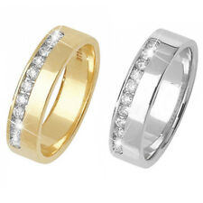9ct Wedding Ring Yellow Or White Gold Offset Diamond Set