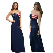 Womens Summer Strapless Bandeau Bodycon Cocktail Ladies Maxi Dress Party Y6S0