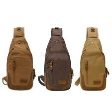 Canvas Leather Retro Messenger Shoulder Sling Military CrossBody Chest Pack Bag